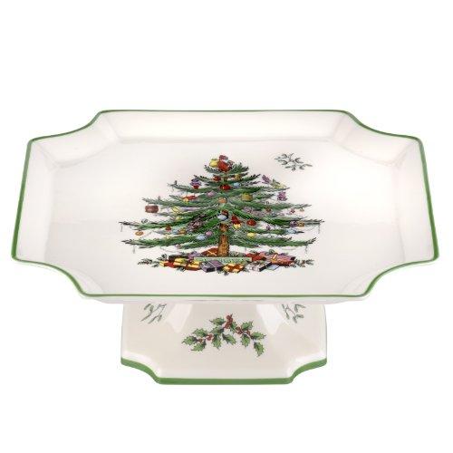 Portmeirion Spode Christmas Tree Footed Square Cake Plate...