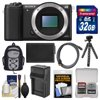 Sony Alpha A5100 Wi-Fi Digital Camera Body (Black) with 32GB Card + Backpack + Battery & Charger + Tripod + Kit Kit Includes 10 Items with all Mfr-supplied Acc + Full USA Warranties 1) Sony Alpha A5100 Wi-Fi Digital Camera Body (Black) 2) Transcend 32GB SecureDigital (SDHC) 300x UHS-I Class 10 Memory Card 3) Precision Design PD-MBP ILC Digital Camera Mini Sling Backpack 4) Spare NP-FW50 Battery for Sony 5) Battery Charger for Sony NP-FW50 6) Precision Design PD-T14 Flexible Compact Camera Mini Tripod 7) Precision Design HDMI to Micro-HDMI Gold Audio/Video Cable (6 ft/1.8m) 8) Precision Design 6-Piece Camera + Lens Cleaning Kit 9) PD 8 SD Card Memory Card Case 10) LCD Screen Protectors The Sony Alpha A5100 Wi-Fi Digital Camera features ultra-fast auto focus with 179 AF points and 6fps. Capture life in high resolution with the 24MP APS-C sensor. Instant sharing via smartphone with Wi-Fi and NFC. Record Full HD 1080/24/60P video up to 50MB/s. All the quality in half the size + weight of other DSLRs. Stunning low light photos with an ISO range of 100-25600. Key Features: Ultra-fast and accurate auto focus with 179 AF points and 6fps: Snap into focus with ultra-fast 0.07 second AF (Auto Focus) speed and never miss the moment. The A5100 also realizes up to 6fps continuous shooting with AF tracking by making the most of the wide-area 179-point phase-detection AF sensor. Even when dealing with a moving subject the A5100s superb moving-subject tracking performance ensures you get the shot during still or video capture. Capture life in high resolution with 24MP APS-C sensor: You get incredible detail and gorgeous enlargements thanks to the newly-developed 24.3 megapixel Exmor APS HD CMOS sensor. Its higher resolution than most DSLRs and adopts the same gapless on-chip lens structure as the a7R for ultimate image quality and light sensitivity. All the quality in half the size + weight of other DSLRs: The A5100 is a super compact Mirrorless camera thats about half the size and weight of a typical DSLR, yet it has the same size APS-C sensor as most DSLRs. The interchangeable lenses and E-mount system make the A5100 more versatile than almost any other camera on the market. Instant sharing via smartphone with Wi-Fi and NFC: Wi-Fi connectivity allows you to control your camera with your compatible Smartphone or Tablet. Frame an image on your smartphones LCD, and simply click the cameras shutter youre your device. You can even transfer the images taken directly to your mobile device for quick editing and uploading - sharing has never been easier. With NFC (near field communication), simply touch the camera to the compatible NFC enabled device to connect. Record Full HD 1080/24/60P video up to 50MB/s: Make movie magic with Full HD 1920 x 1080 video in cinematic 24p, or capture fast action at incredible 60p and 60i frame-rates. Made even easier with the A5100s 179 point AF (auto focus) system, tracking moving subjects is not a problem. Movie quality is selectable in-camera -- XAVC S for broadcast quality high 50Mb/s bitrate, Blu-ray quality AVCHD or simple and easier upload to the web plus MP4 codecs are available. For serious videographers, uncompressed 8bit 4:2:2 clean-screen video files to external recording devices is possible via the HDMI connection. Stunning low light photos with ISO range of 100-25600: The A5100 features high sensitivity thanks to the newly developed Exmor CMOS sensor and BIONZ X processor. You get stunning detail in in low llight from ISO range 100-25000. And for an additional burst of light, the A5100 features a pop-up flash. Create easy selfies with flip-up touch-screen LCD: