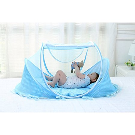 Baby Infant Portable Folding Travel Bed,Crib Canopy Mosquito Net Tent Portable Baby Cots Crib Sleeper Bed with One Pillow for 0-18 Month