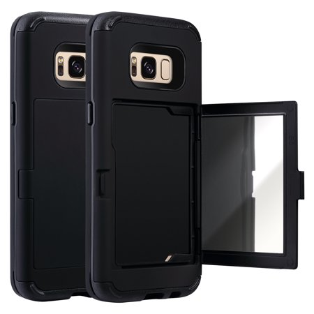 on sale 0d122 a0630 Galaxy S8 Case, ULAK [3 in 1 Shield] Anti-slip Shock Absorbing Protective  Hidden Credit Card Holder ID Slot Card Case Stand Cover with Mirror for ...
