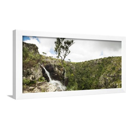 Waterfall flowing over the edge down into the depths of the gorge, Wolkberg Conservancy, Tzaneen... Framed Print Wall Art