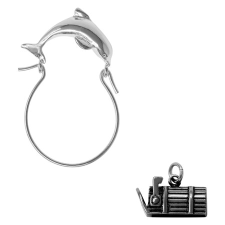 Sterling Silver 3D Mailbox Charm on a Dolphin Charm Holder