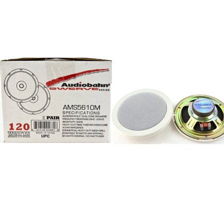 Audiobahn Car - New Pair Of 6.5' Dual Cone AMS5610M Audiobahn Heavy Duty Ribb Tweeter Marine Boat Yacht White Color Speakers System