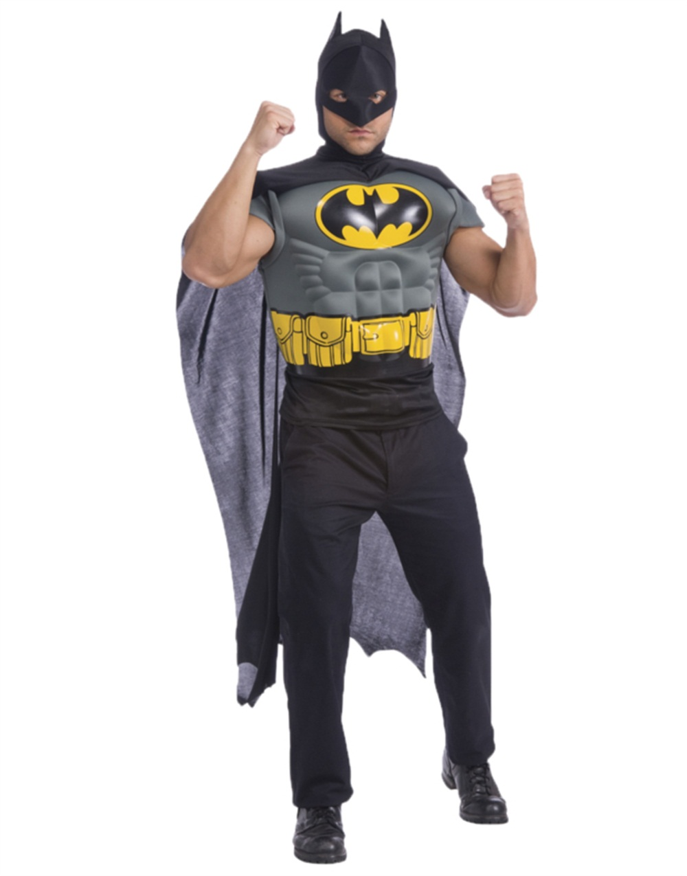 batman muscle shirt with cape adult halloween accessory - walmart