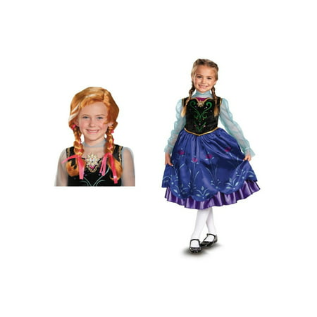 Disney Anna Girls Frozen Costume and Wig Set