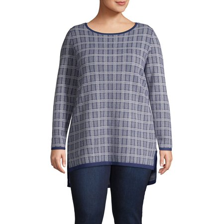 Plus Plaid Step-Hem Tunic