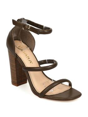 0bd80398d0550 Product Image Liliana FA72 Women Leatherette Open Toe Triple Strap Chunky  Heel Sandal