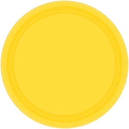 Disposable Round Party Dessert Plates Tableware, Yellow Sunshine, Paper , 7