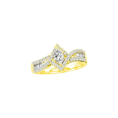 14k Gold Marquise Diamond Solitaire - 14kt Yellow Gold Womens Marquise Diamond Solitaire Bridal Wedding Engagement Ring 3/4 Cttw