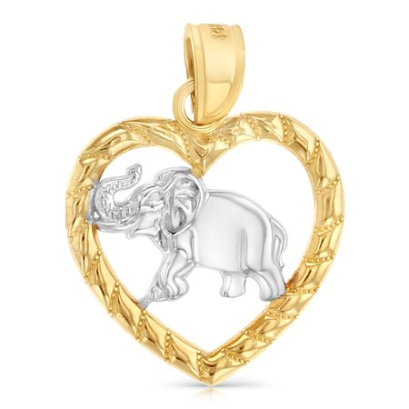 14K Two Tone Gold Elephant Heart Charm Pendant For Necklace or Chain ()