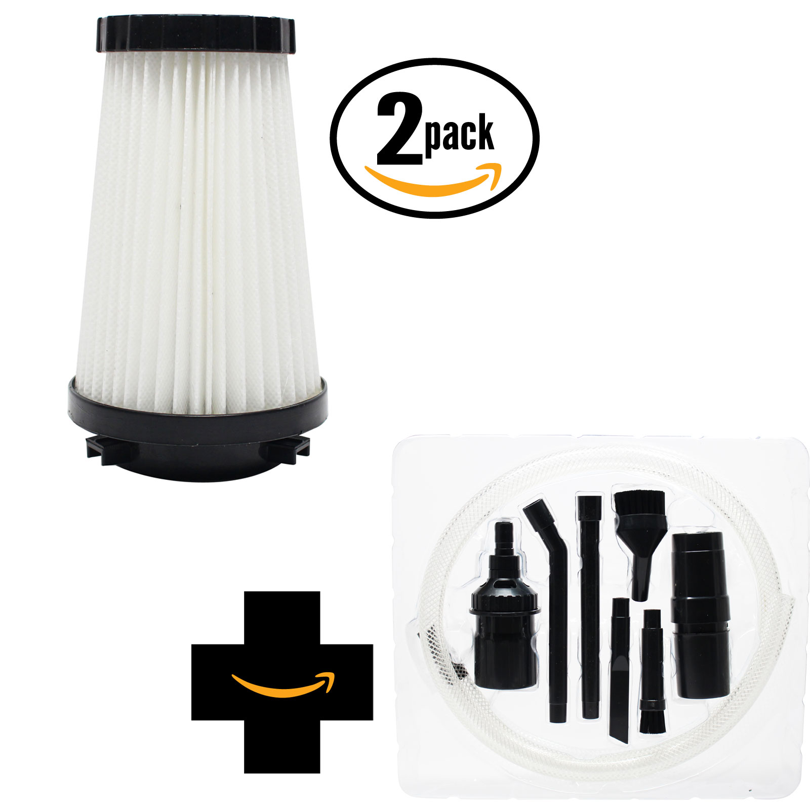 2-Pack Replacement Dirt Devil Dynamite Plus Bagless Upright M084650SC Vacuum HEPA Filter with 7-Piece Micro Vacuum Attachment Kit - Compatible Dirt Devil 3SFA11500X, F2 HEPA Filter