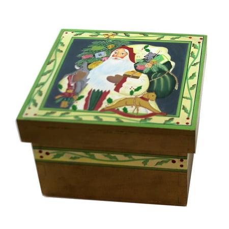 Christmas SANTA w/ HORSE LIDDED BOX Wood Storage Tree Presents 87656 ()