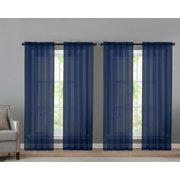 4 Pack Basic Home Rod Pocket Sheer Voile Window Curtains - Navy