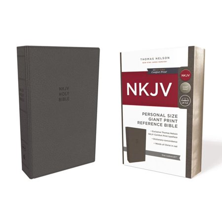 NKJV, Reference Bible, Personal Size Giant Print, Imitation Leather, Gray, Red Letter Edition, Comfort Print (Other)(Large Print)