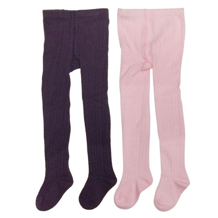 Wrapables® Purple and Pink Cotton Diamond Weave Knit Tights for Girls (Set of 2), 4-5 Years
