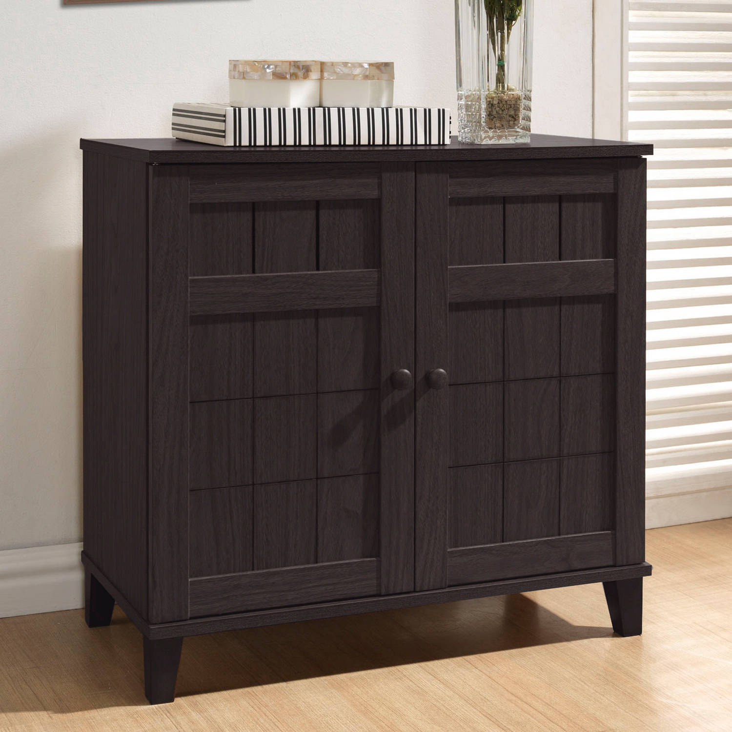 Baxton Studio Glidden Dark Brown Wood Modern Shoe Cabinet   Walmart.com