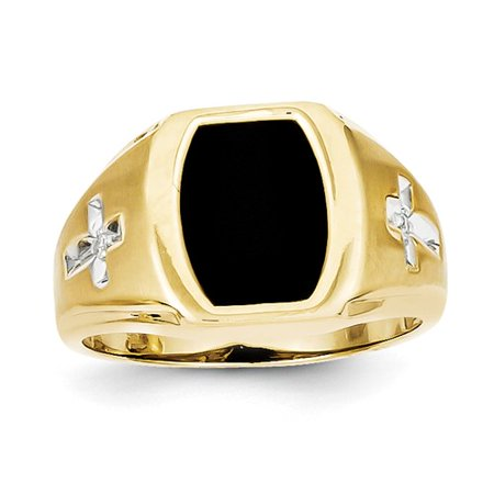White Gold Octagon Onyx Ring (10k Yellow Gold Onyx & .01ct Diamond Mens Cross Ring. Carat Wt- 0.018ct)