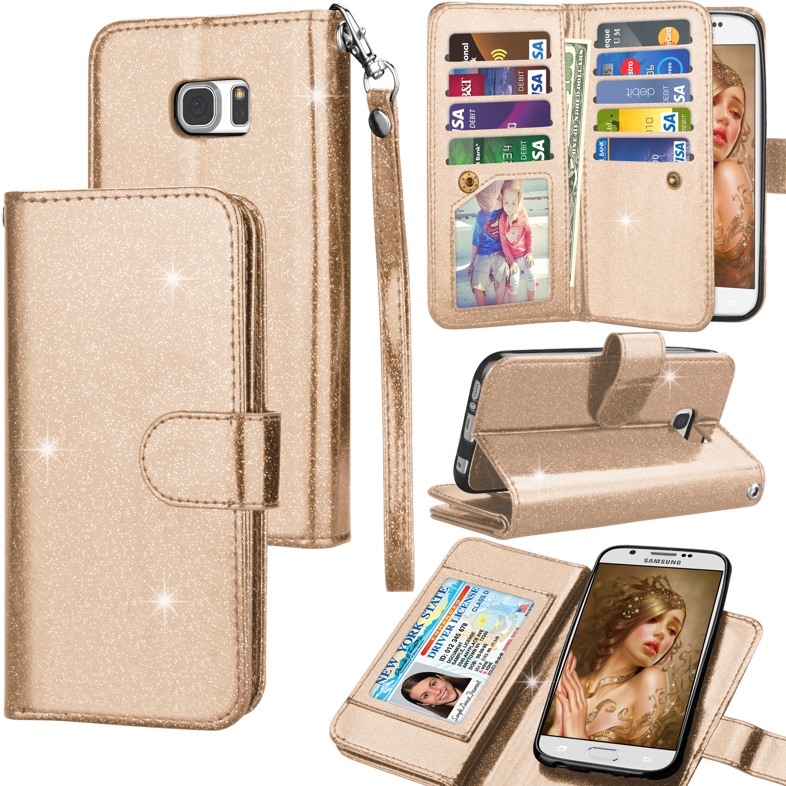 Galaxy S6 Case, Samsung Galaxy S6 Wallet Case, Galaxy S6 PU Leather Case, Tekcoo Luxury Shiny Bling Credit Card Slots Holder Carrying Folio Flip Cover [Detachable Magnetic Case] & Kickstand - Gold