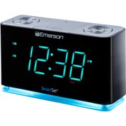 Emerson SmartSet Alarm Clock Radio with Bluetooth Speaker, USB Charger for iPhone and Android, Night Light, and Cyan LED Display