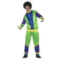 """47.5"""" Green and Blue 1980's Style Height of Fashion Shell Suit Men Adult Halloween Costume - XL"""