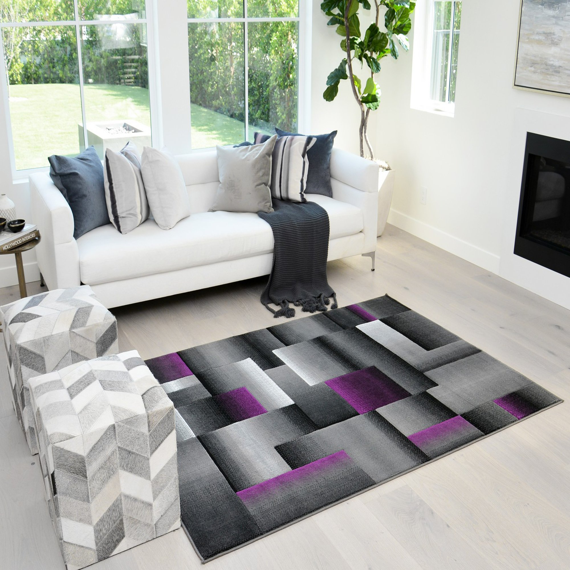 Picture of: Handcraft Rugs Purple And Gray Abstract Geometric Modern Squares Pattern Area Rug 5 Ft By 7 Ft Walmart Com Walmart Com