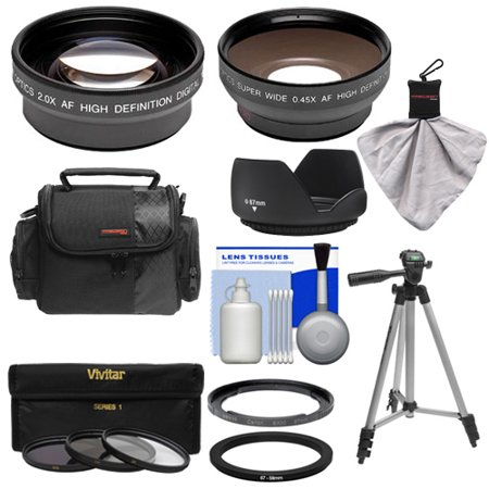 Bower FA-DC67A Adapter Ring for Canon PowerShot SX530, SX540 & SX60 HS Camera + .45x Wide Angle & 2x Telephoto Lenses + 3 UV/ND8/CPL Filters + Hood + Case Kit