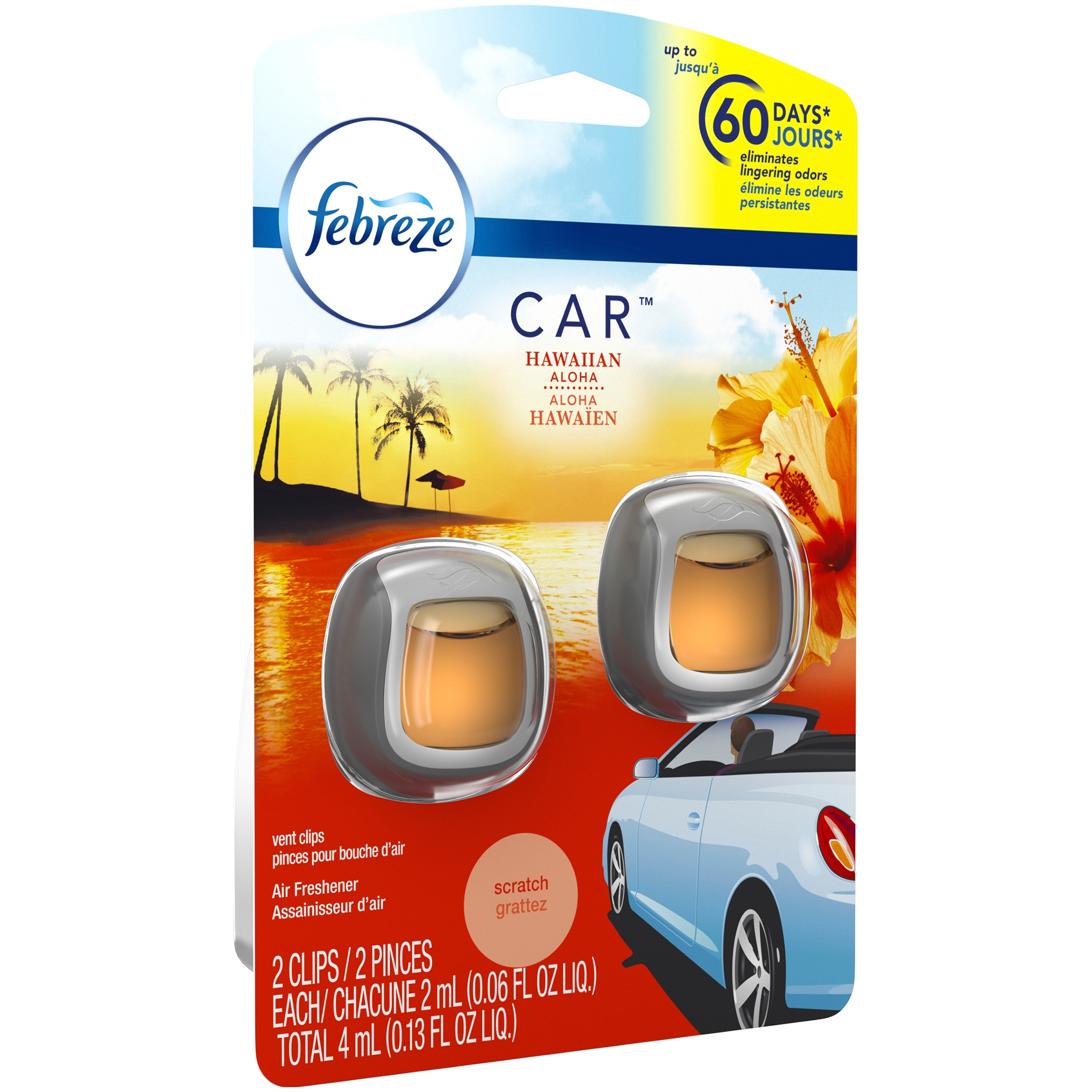Febreze Car Air Freshener, Hawaiin Aloha, 2 count