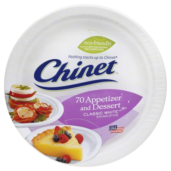 Chinet Appetizer And Dessert Plates Classic White - 70 CT