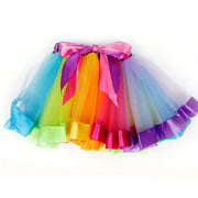 The Elixir Kids Little Girls Layered Rainbow Tutu Skirt Dress Ballet Tiered, Medium