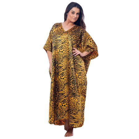 - Up2date Fashion's Women's Caftan / Kaftan, Gold and Black Animal Print