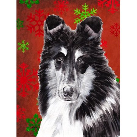 Black and White Collie Red Snowflakes Holiday Flag Garden Size - image 1 de 1