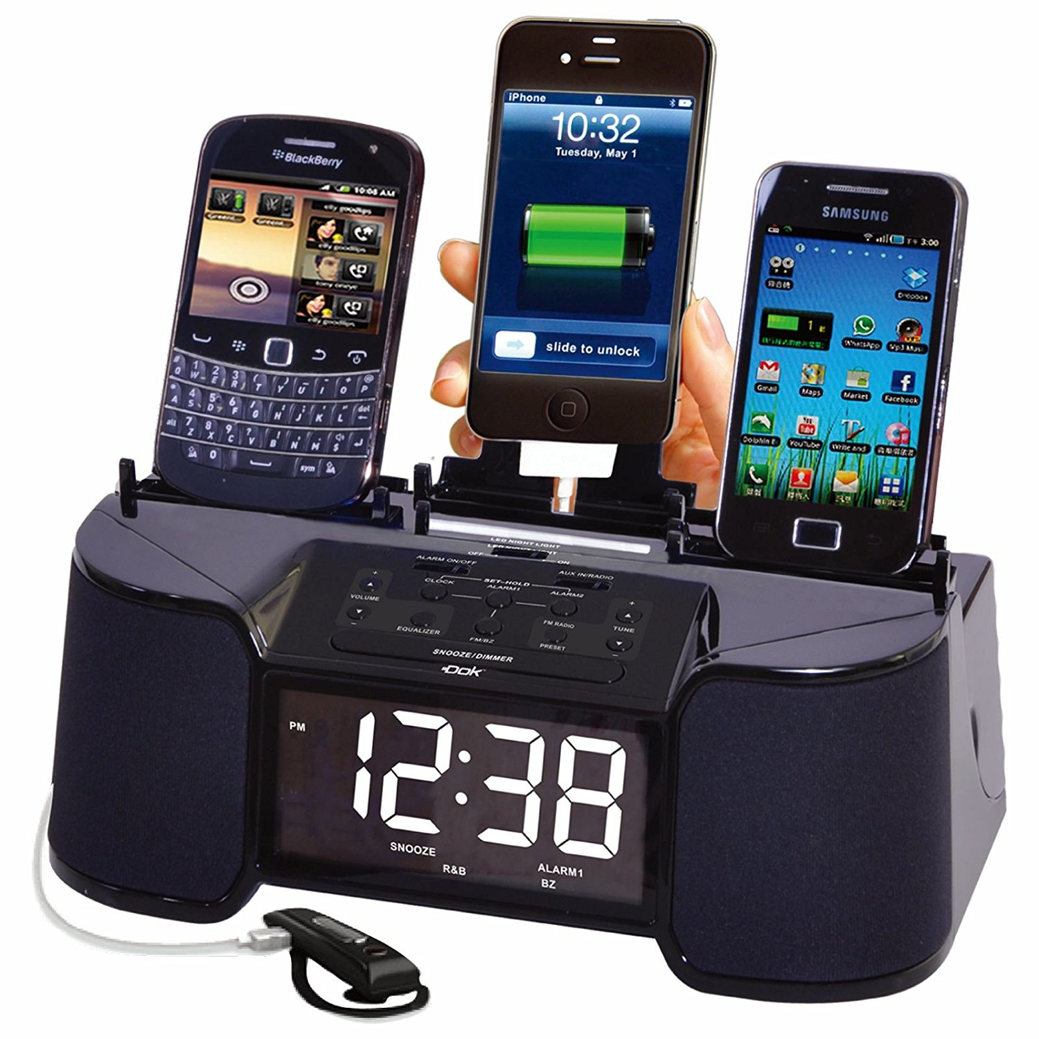 4 Port Smart Phone Charger with Speaker_ Alarm_ Clock & FM Radio _Non Retail Packaging