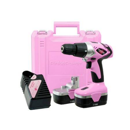 Pink Power PP182 18V Cordless Drill Driver Set for Women - Tool Case, 18 Volt Electric Drill, Charger and 2 Batteries ()