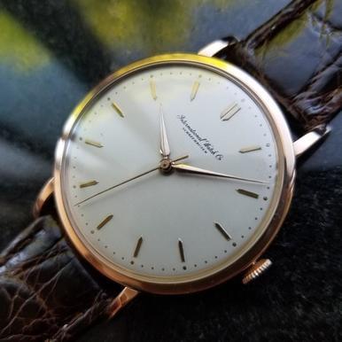IWC Men's 18K Rose Gold Manual Hand-Wind Dress Watch c.1950s Vintage Swiss (Iwc Power Reserve)