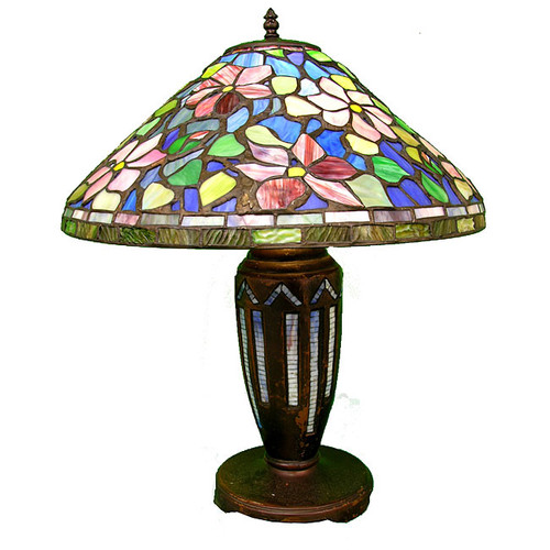 Warehouse of Tiffany Tiffany Style Floral 25'' H Table Lamp with Empire Shade