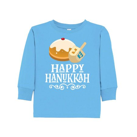 (Happy Hanukkah Dreidel Toddler Long Sleeve T-Shirt)