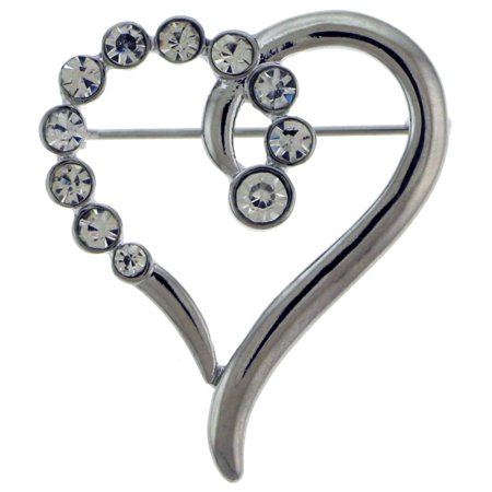 Heart Shaped Silver-Tone Brooch Pin With Rhinestone Accents TMP163