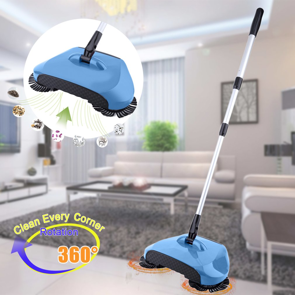Manual Automatic Hand Push Sweeper Broom Dustpan Trash Bin Without Electricity