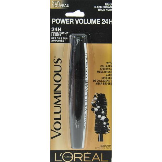 aa287765486 L'Oreal Paris Voluminous Power Volume 24H Mascara, 681 Blackest Black, Black  Brown - Walmart.com