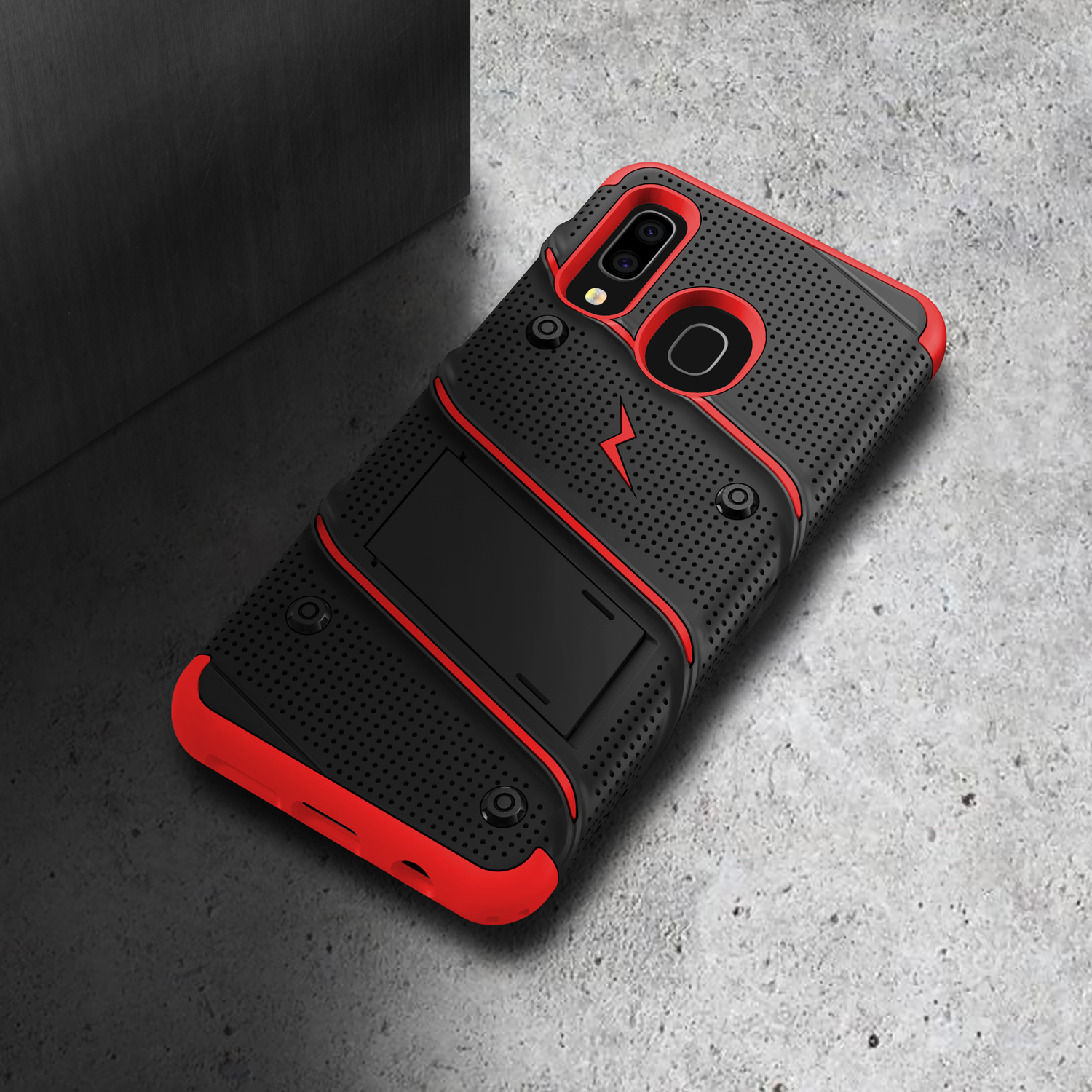 Black Heavy-Duty Military-Grade Drop Protection w//Kickstand Included Belt Clip Holster Tempered Glass Lanyard Galaxy A50 ZIZO Bolt Series for Samsung Galaxy A20 Case