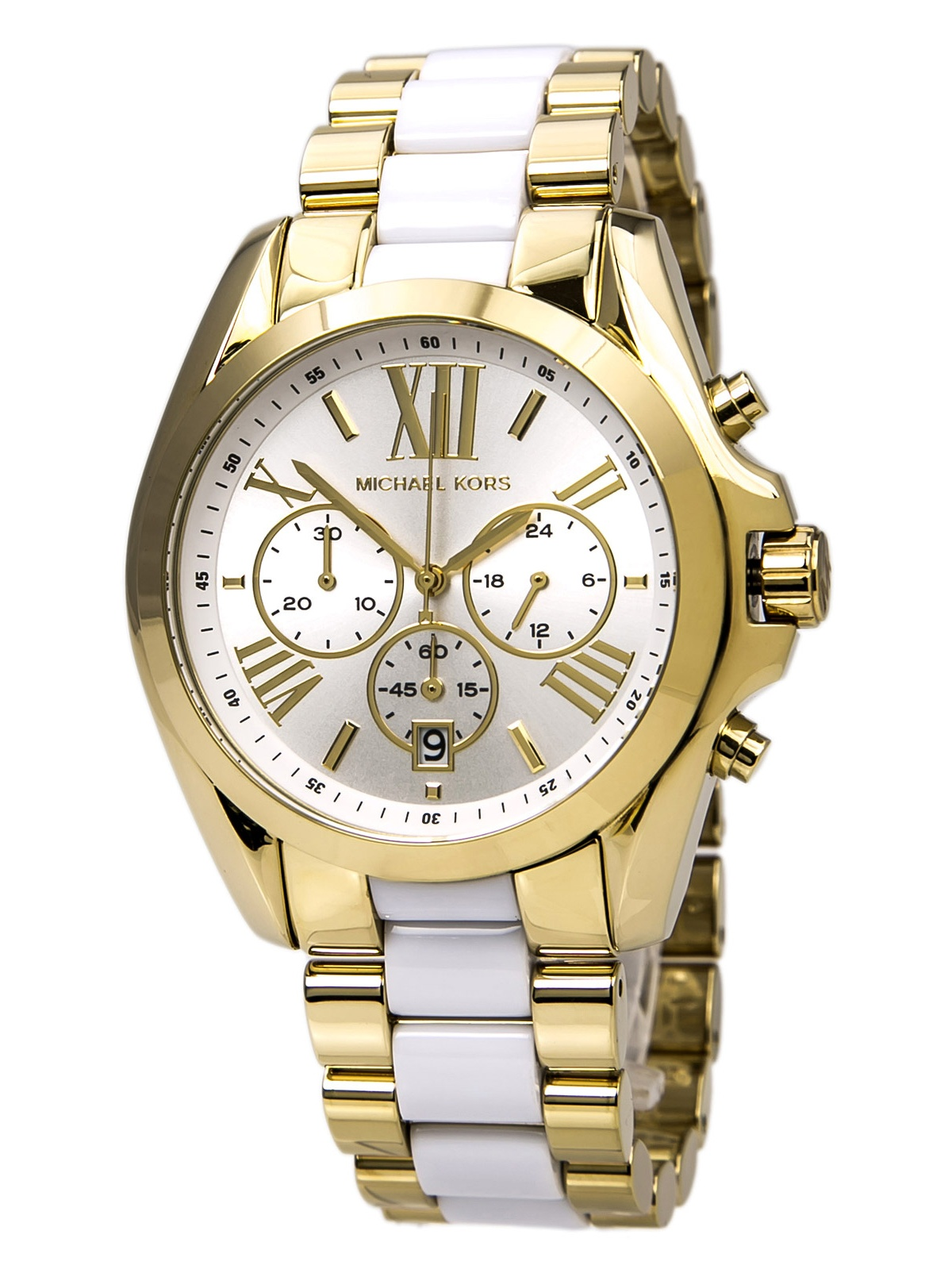 Michael Kors MK5743 Women's Bradshaw White Dial Two Tone Gold Plated Steel Bracelet Chronograph Watch