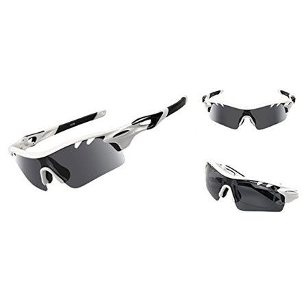 IFLYING Polarized Sports Sunglasses 3 Color Interchangeable Lenses for Men Women Cycling Baseball Running Glasses Polarized Gray for All Purpose and Night activities