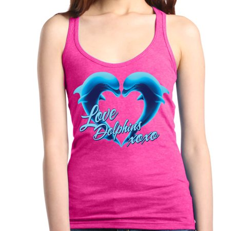 Racerback Heart - Shop4Ever Women's Love Dolphins XOXO Blue Dolphin Heart Racerback Tank Top