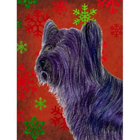 Caroline's Treasures Skye Terrier Red Green Snowflake Holiday Christmas House Vertical Flag