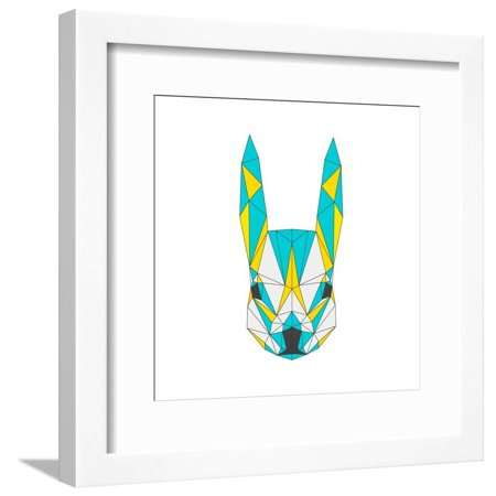 - Abstract Squirrel Isolated on White . Polygonal Triangle Geometric Illustration Animal Portrait Framed Print Wall Art By vanillamilk