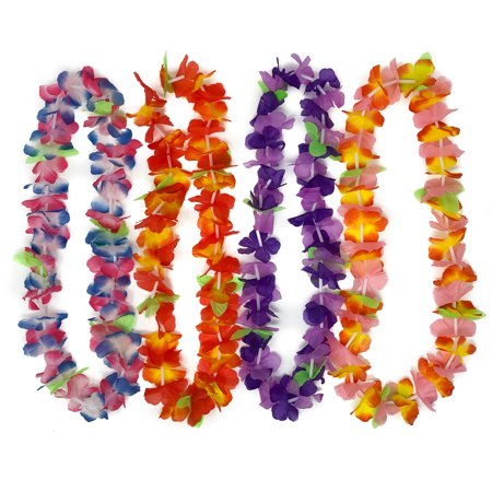 50 Hawaiian Leis - Tropical Flower Leis for Luau Party - Artificial Hawaiian Leis