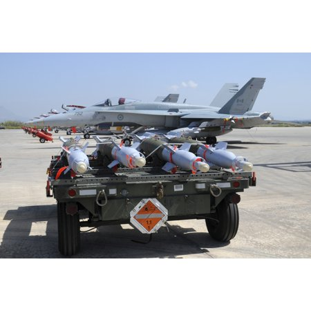 Gbu 12 Laser Guided Bombs Of The Royal Canadian Air Force Ready To Be Loaded Canvas Art   Riccardo Niccolistocktrek Images  17 X 12