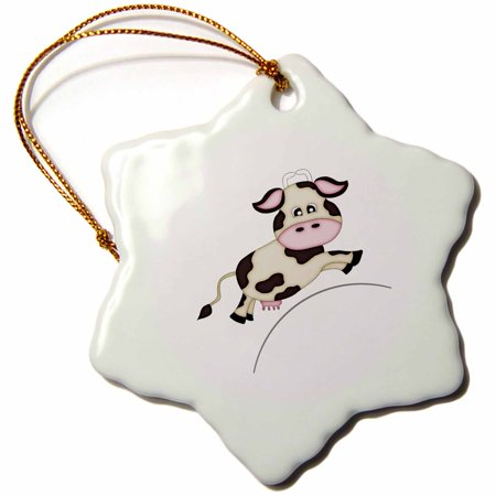 3dRose Cute Black and White Cow Jumping Over The Moon Illustration - Snowflake Ornament, 3-inch - White Snowflake Ornaments