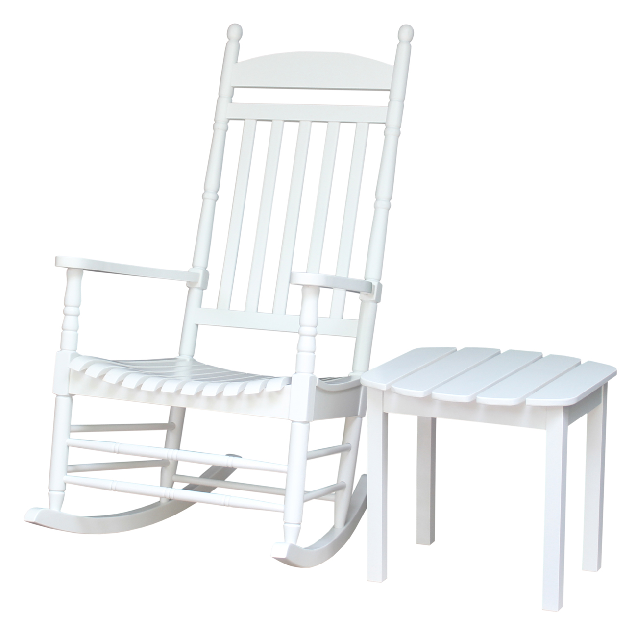 Porch Rocker and Side Table in White