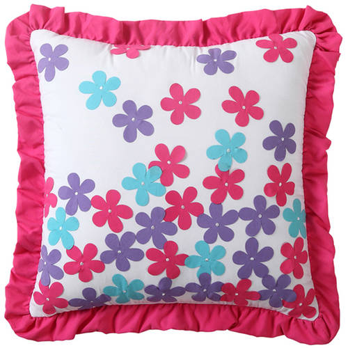 VCNY Amanda Multi-Colored Floral Applique Decorative Kids Throw Pillow